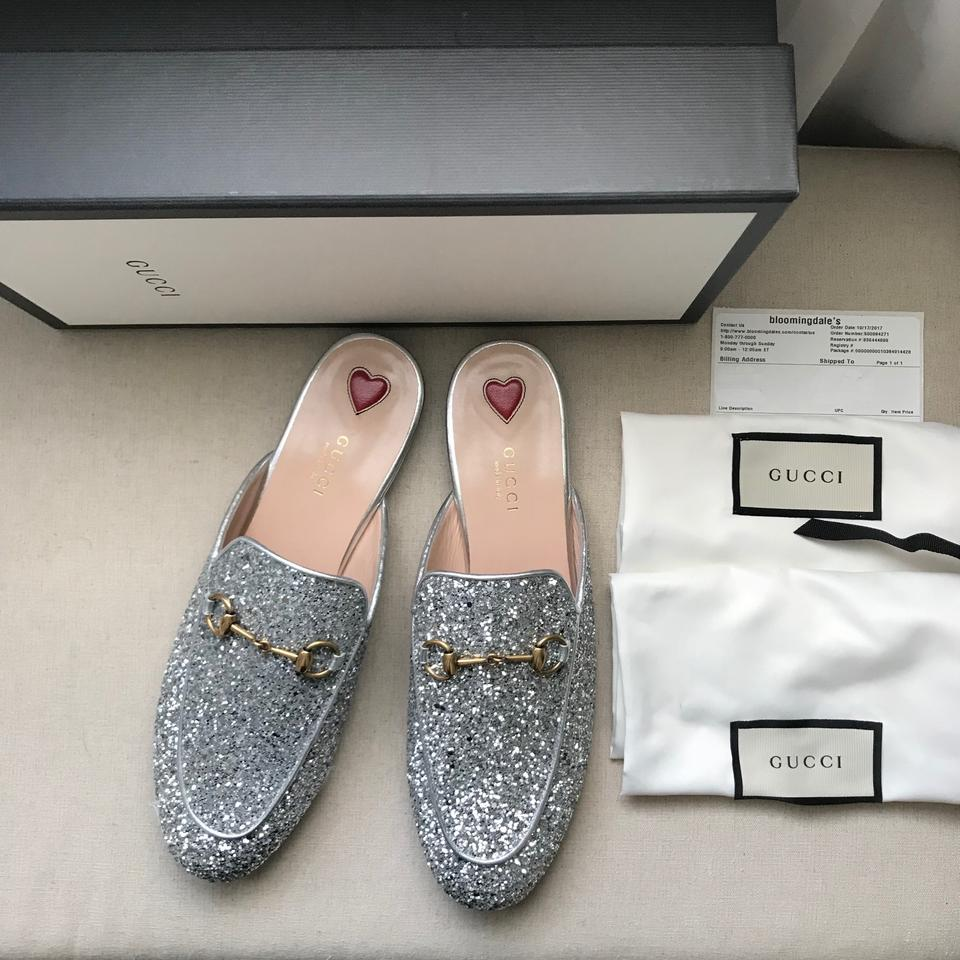 2cebf4696 Gucci Silver Princetown Glitter Princetown Loafer Mules/Slides Size ...