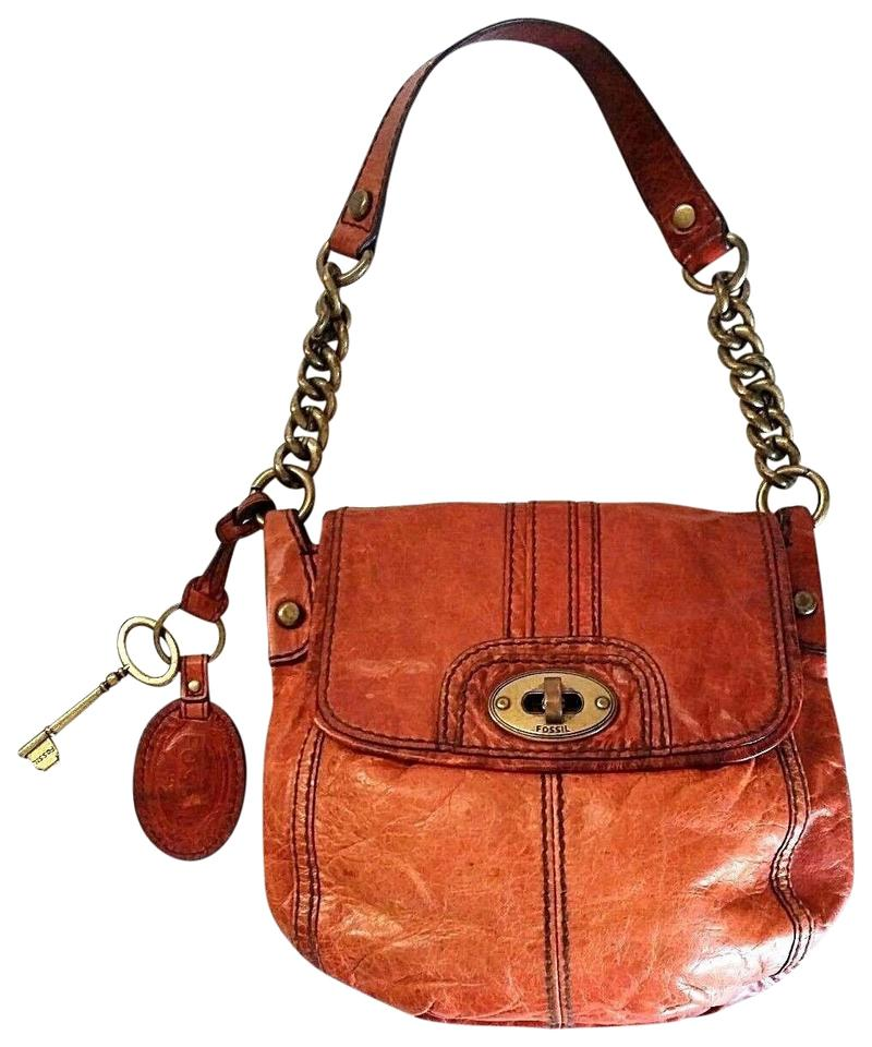 41504112cea6 Fossil Maddox Long Live Vintage Small Flap Handbag Chain Strap Turn Lock  Brown Leather Shoulder Bag
