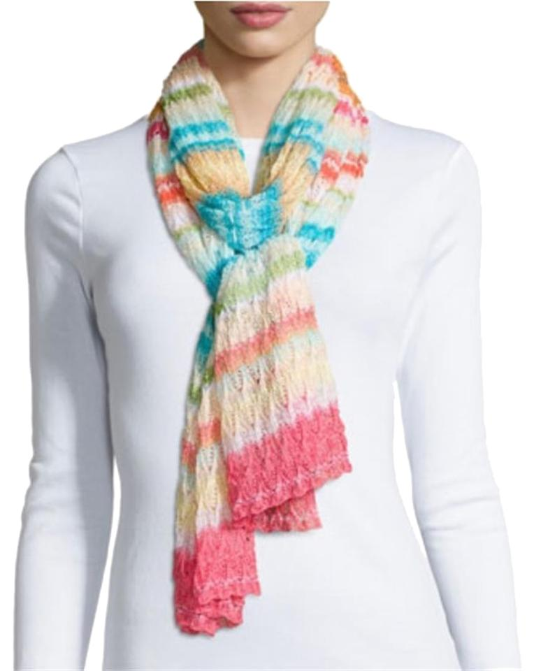 41d1e5873c Missoni Multicolor New Striped Zigzag Long Made In Italy Knit Zig Zag Scarf  Wrap