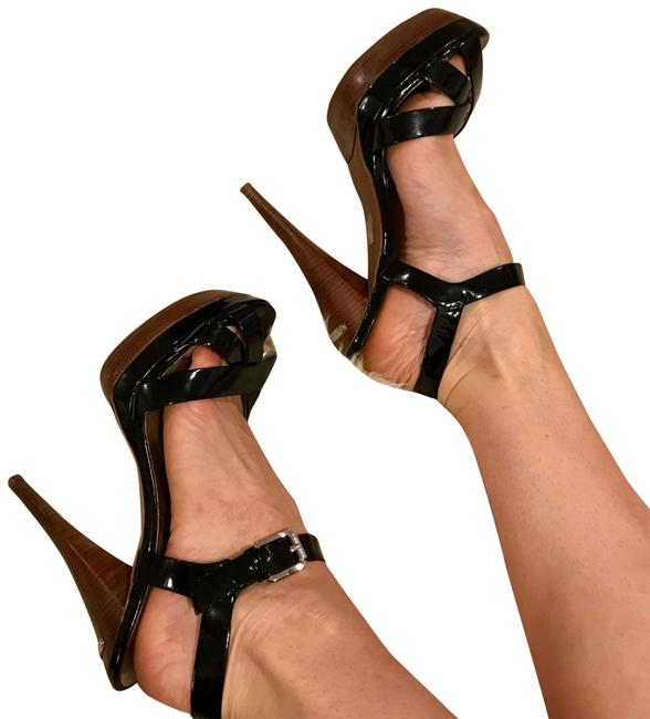 Item - Black Kors Patent & Wood Heels. Worn Once For A Photo Shoot. Stunners Go with Everything Platforms Size US 7 Regular (M, B)
