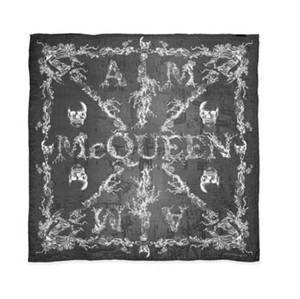 Alexander McQueen NEW Botanical Floral Skull Square Scarf in Black Chiffon Silk White