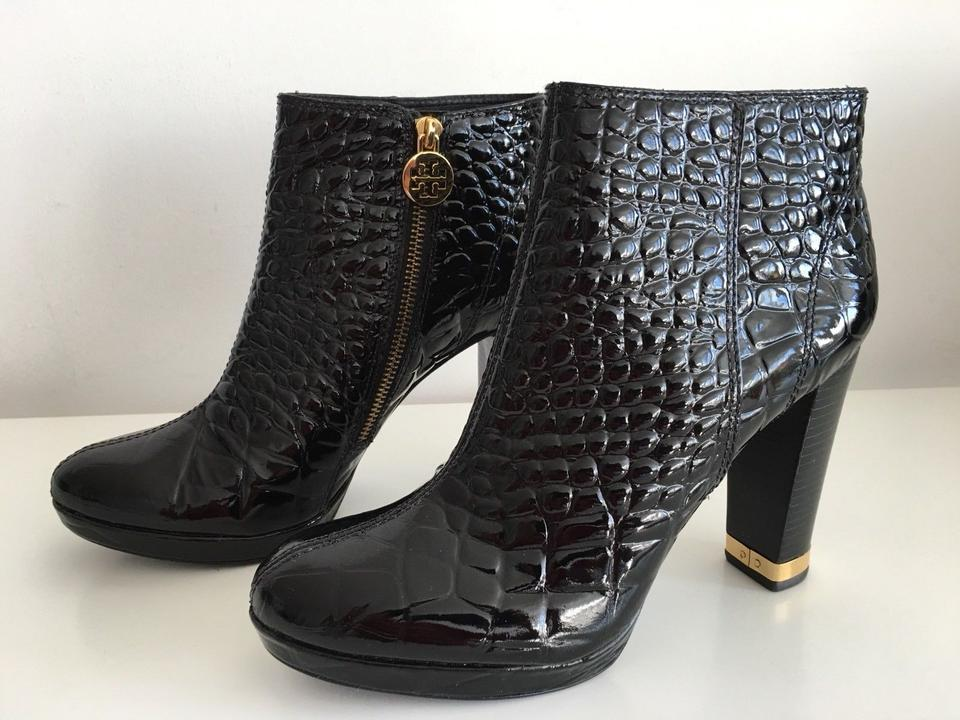 07034cb8f1055 Tory Burch Black Leigh Crocodile Embossed Patent Leather Ankle Boots ...