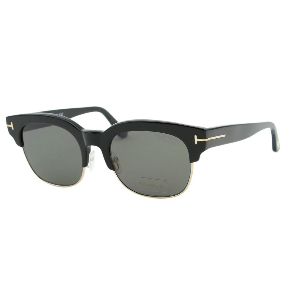 40e3c55874 Tom Ford Black New Herry-02 Tf-597 Polarized Clubmaster Sunglasses ...
