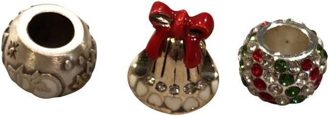 Item - Silver Red Green Jingle Bell Stopper Bead Snowman Bead Ice Diva Bead Charm