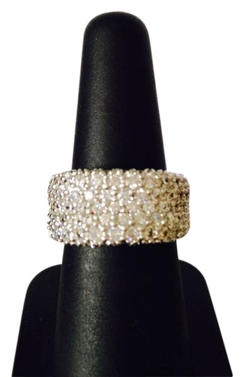 Other Embellished by Leecia NWT Pave Cubic Zirconia Rhodium Over Sterling Silver Band Ring, Size 7