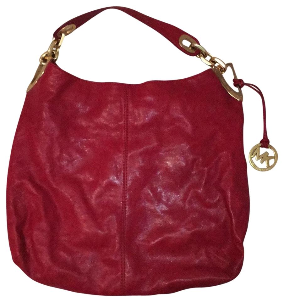 dc68930b563d84 Michael Kors With Gold Chain Details Cherry Red Leather Hobo Bag ...