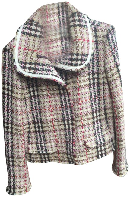 Item - Tan Ivory Green Red Plaid Boucle Wool Jacket Size 10 (M)