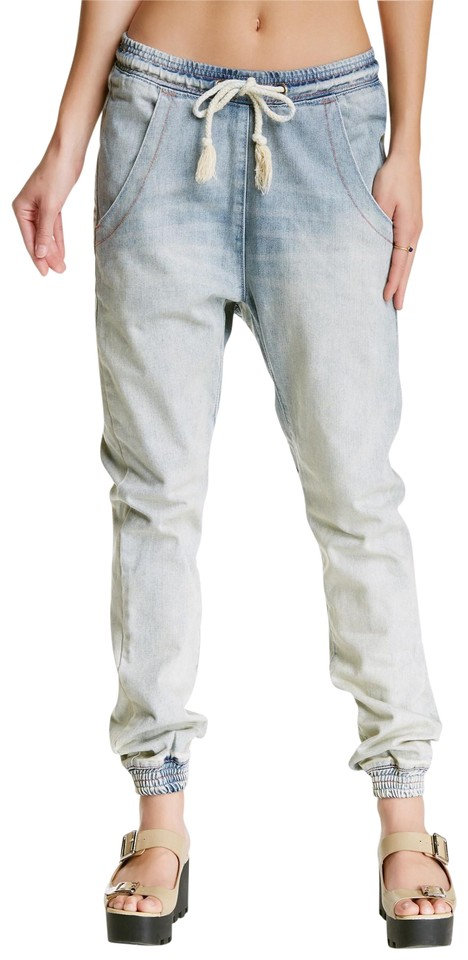 7e8874e60810 One Teaspoon Acid Washed Blue Light Wash Super Trackies Super Jogger Pants  Relaxed Fit Jeans