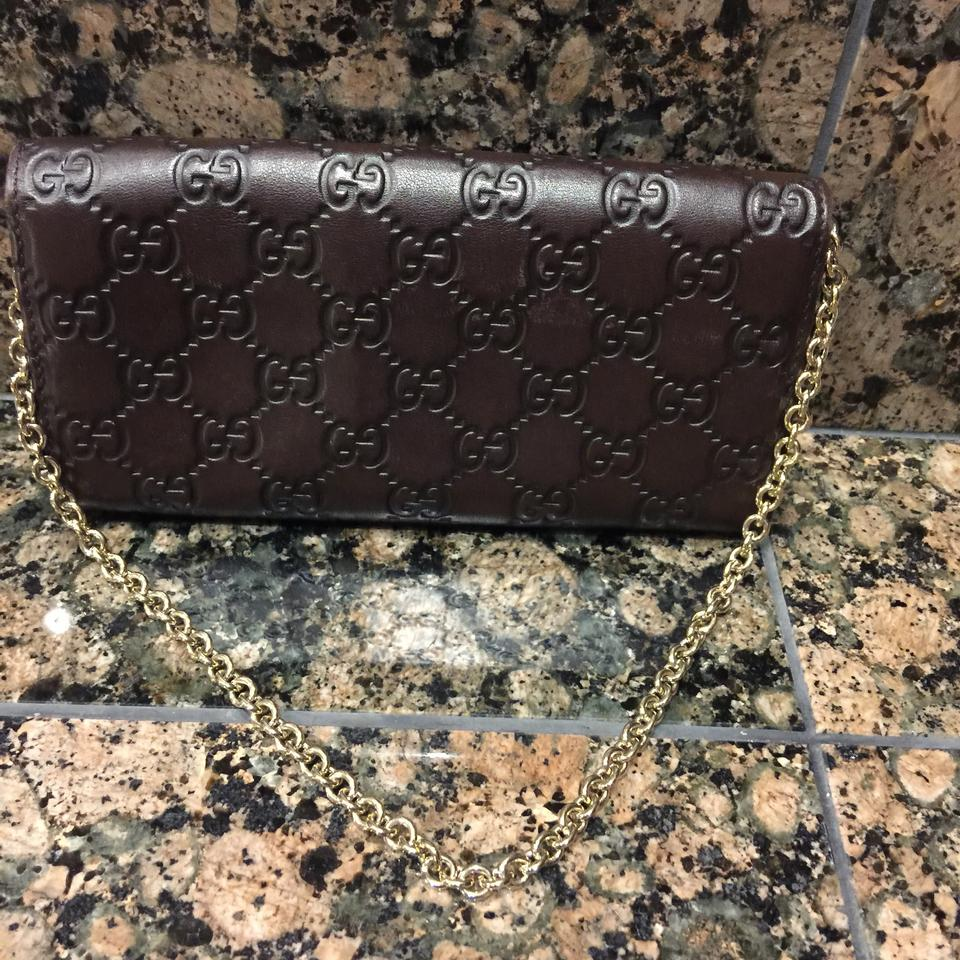 93061c105389 Gucci Brown Gg Bag/Wallet With Chain Wallet Leather Clutch - Tradesy