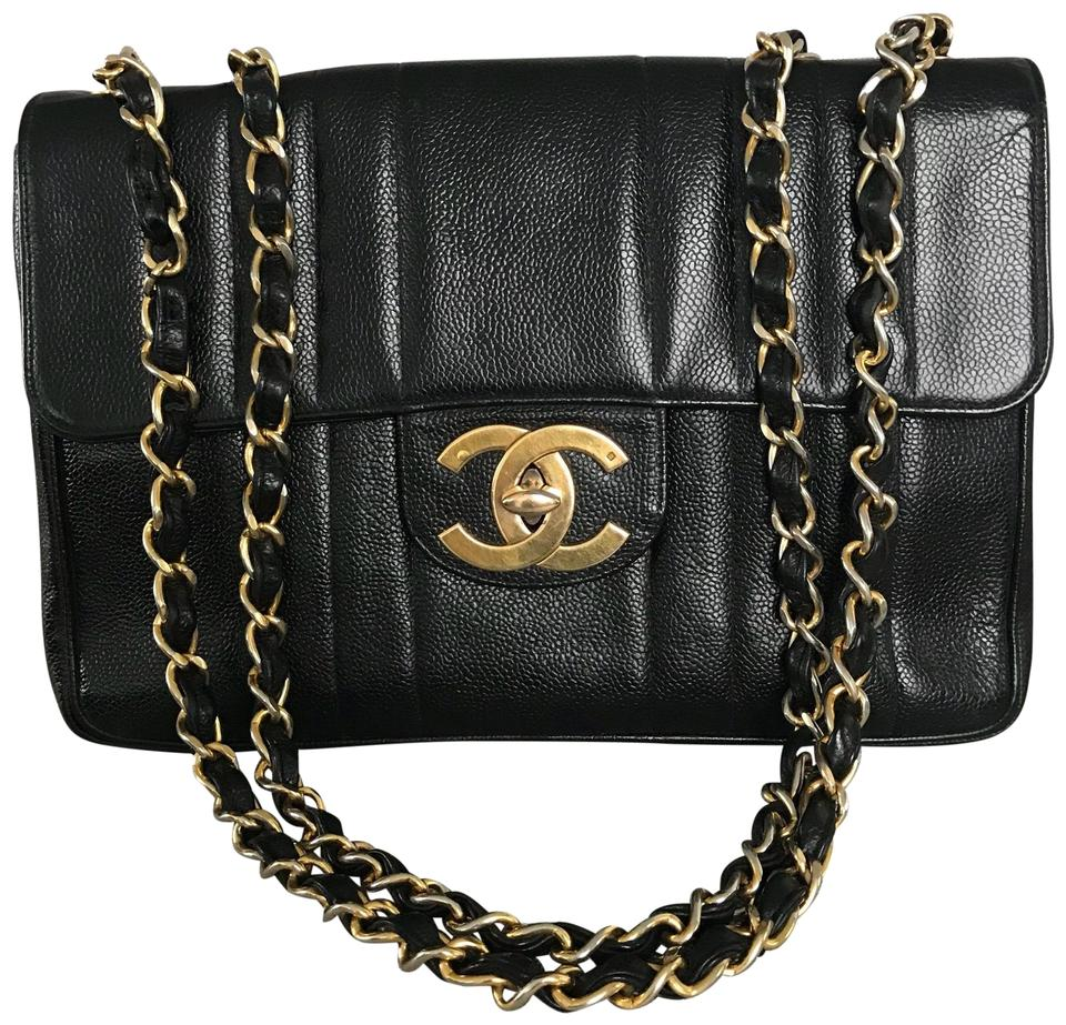 11c5c93df607 Chanel Classic Flap Vintage Jumbo In Vertical Quilting with Oversized Gold  Hardware Black Caviar Leather Shoulder Bag