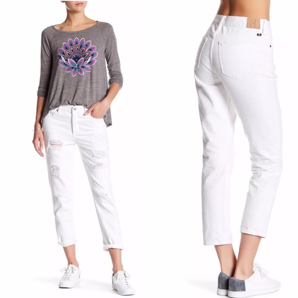 Lucky Brand Off White Light Wash Sienna Slim Distressed Ripped Boyfriend  Cut Jeans Size 30 (6, M) 12% off retail