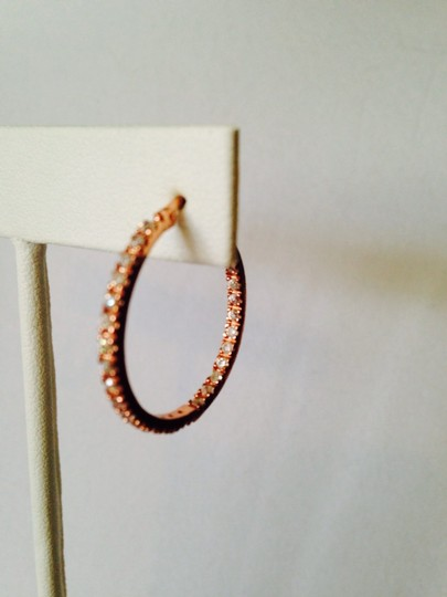 Other Embellished by Leecia Inside/ Outside Diamonds ( Lab Created) Rose Gold Hoop Earrings