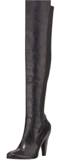 Frye Leather Stretch Over The Knee Black Boots