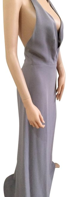 Item - Grey with Periwinkle Undertone V-neck Open Back Gown Long Night Out Dress Size 4 (S)