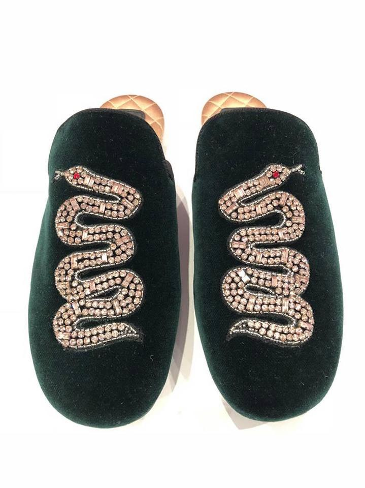 5598b4b67a0 Gucci Green Lawrence Princetown Crystal Snake Slide Loafer Mule ...