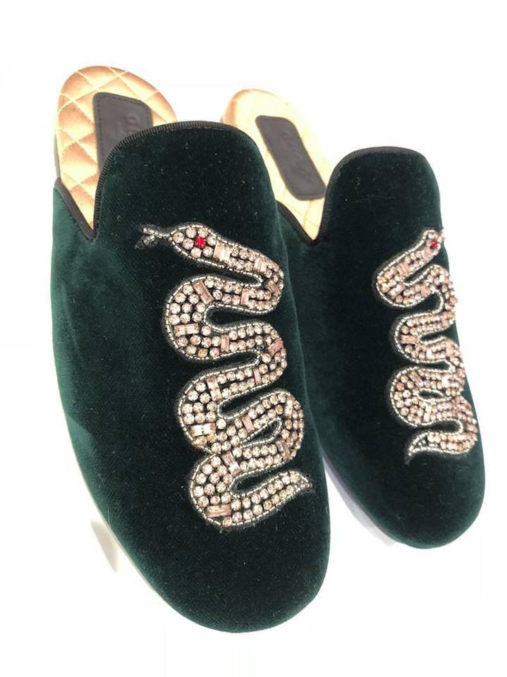e6e831aabb9 Gucci Lawrence Princetown Crystal Snake green Flats Image 11.  123456789101112
