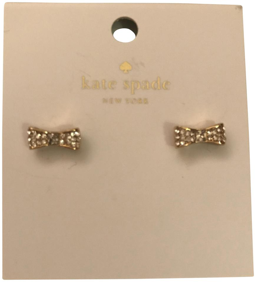 Kate Spade Nwt New York Pave Bow Stud Earrings Gold