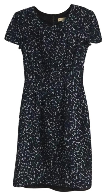 Item - Navy Green and White Keyhole Sheath Mid-length Work/Office Dress Size 2 (XS)