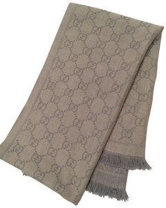 Gucci GG Silver Jacquard Knitted Scarf