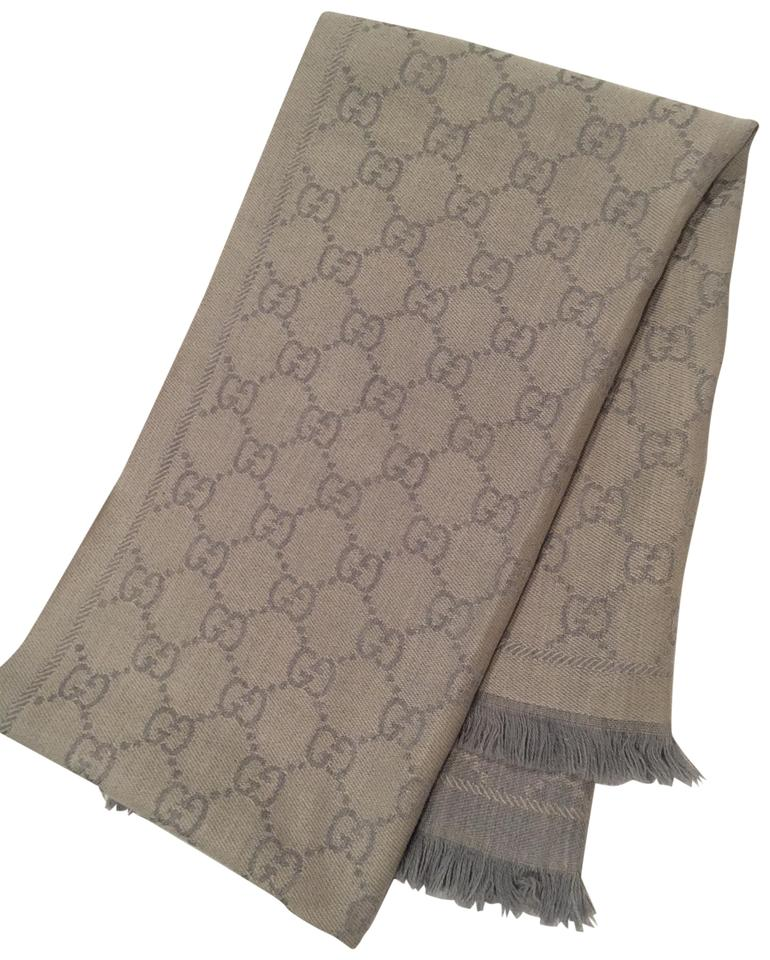 596119d4 Gucci Silver Grey Gg Jacquard Knitted Scarf/Wrap