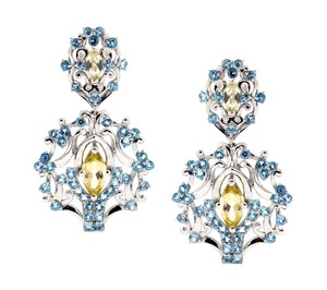 NY Collection Natural Citrine Blue Topaz Vintage Chandelier Earrings Women Sterling