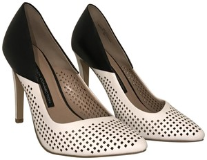 French Connection Leather Heels New Black & White Pumps