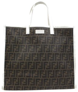 Fendi Shopper Roll Neverfull Sac Plat Tote in Brown x White