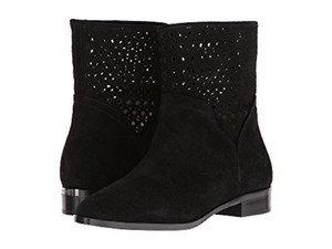 Michael Kors Suede Leather Perforated Ankle Black Boots