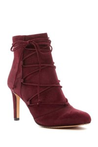 Vince Camuto Suede Leather Wrap Ankle Burgundy Boots