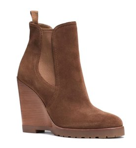 Michael Kors Suede Leather Wedge Ankle Brown Boots
