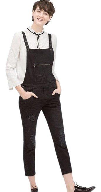Item - Black Distressed Overalls Capri/Cropped Jeans Size 27 (4, S)