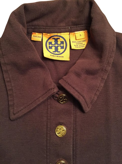 Tory burch brown sweater button down top size 4 s tradesy for Tory burch button down shirt