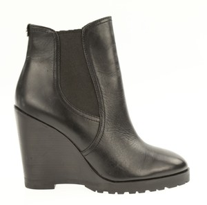 Michael Kors Leather Wedge Ankle Pull On Black Boots