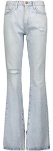 Current/Elliott Distressed High Waisted Wash Flare Leg Jeans-Light Wash