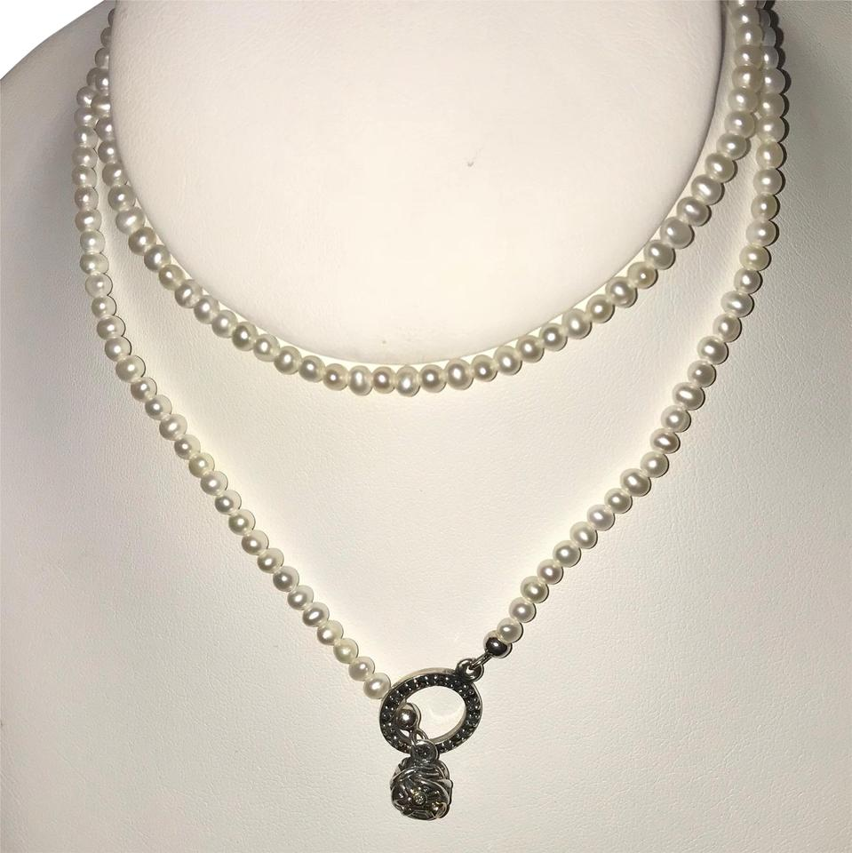 5d841876cc8ee PANDORA White Woven Splendor Pearl & Diamond #590148d Necklace 71% off  retail