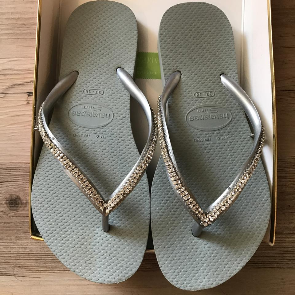 be1345ed7e85 Havaianas Silver with 2 Rows Of Rhinestones Slim Flip Flop Sandals ...