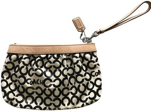 Coach Leather Exterior Aqua Fabric Lining Corner Zipper Wristlet in Black and Nude