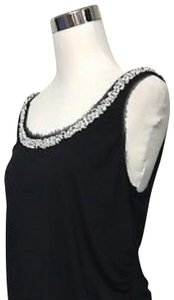 White House | Black Market New Tags Gift Beaded Neckline Top Black with White & Silver Beading
