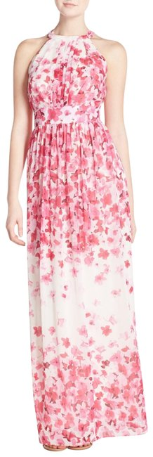 Item - Pink Print Scarf Halter Crepe De Chine Maxi Long Night Out Dress Size 16 (XL, Plus 0x)