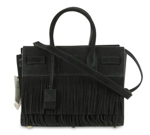 Saint Laurent Suede Logo Fringe Hem Italian Sac Du Jour Satchel in Black