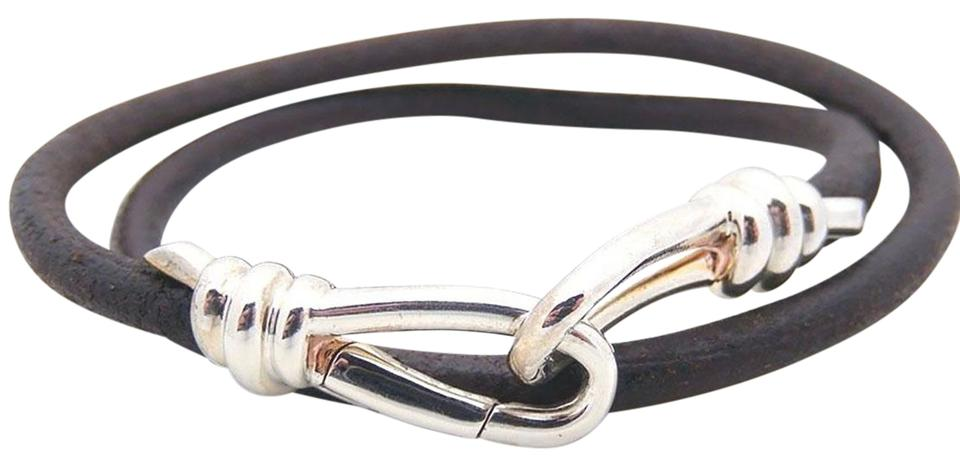 0ba73e334 Tiffany & Co. Tiffany Picasso Knot Double Wrap Bracelet in Leather &  Sterling Silver Image ...