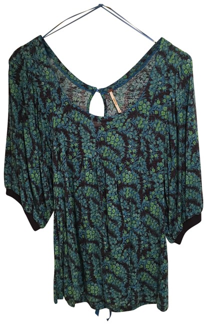 Item - Floral Sparkle Blue and Green Top