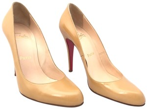 Christian Louboutin Round Toe Stiletto Leather Beige Pumps