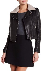 DOMA Optional Lamb Trim Epaulets Asymmetrical Zip 2 Front Notch Collar NWT Black Jacket
