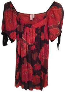 Sweet Pea by Stacy Frati Floral Flowy Nylon Date Top Red and Black