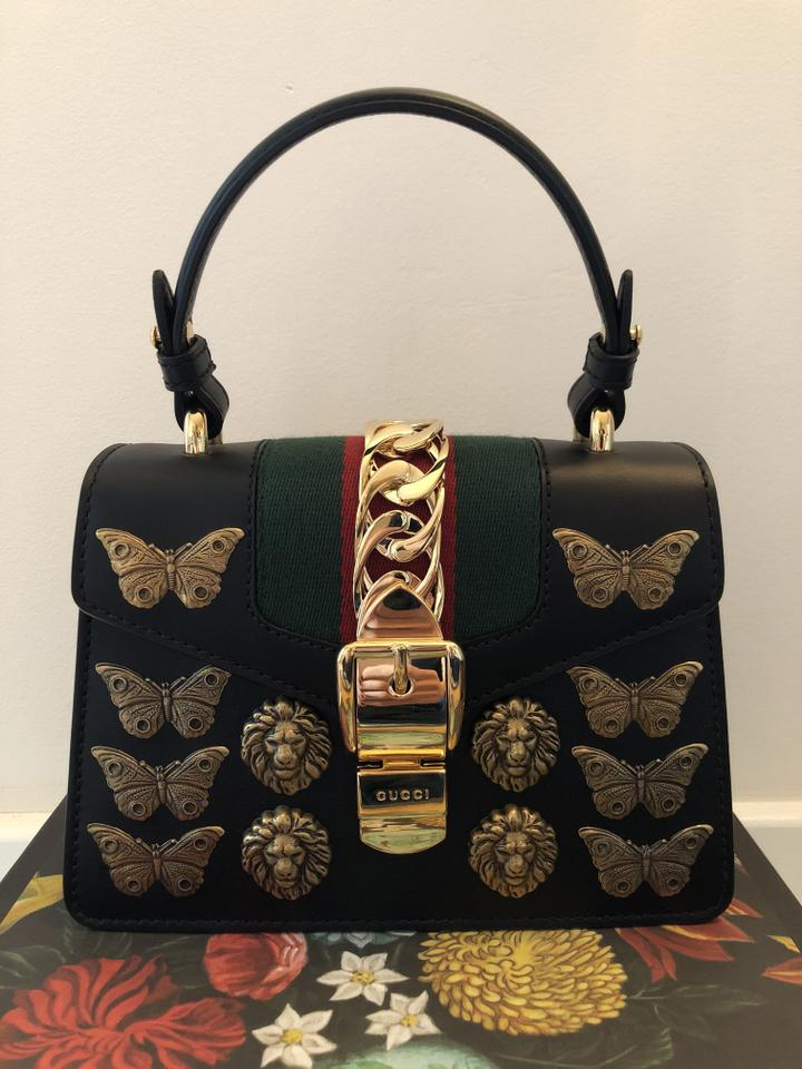 4d9af26013af Gucci Mini Sylvie - Gg Animal Studs Black Leather Shoulder Bag - Tradesy