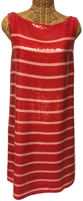 Item - Pink Red / Sequin Striped Short Cocktail Dress Size 4 (S)