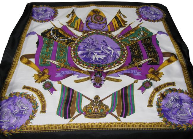 Item - Black Purple Gold and Green Large Vibrant - Stunning Scarf/Wrap