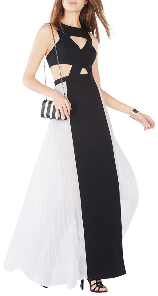 Bcbgmaxazria Black And White Giselle Cutout Pleated Gown Long Formal