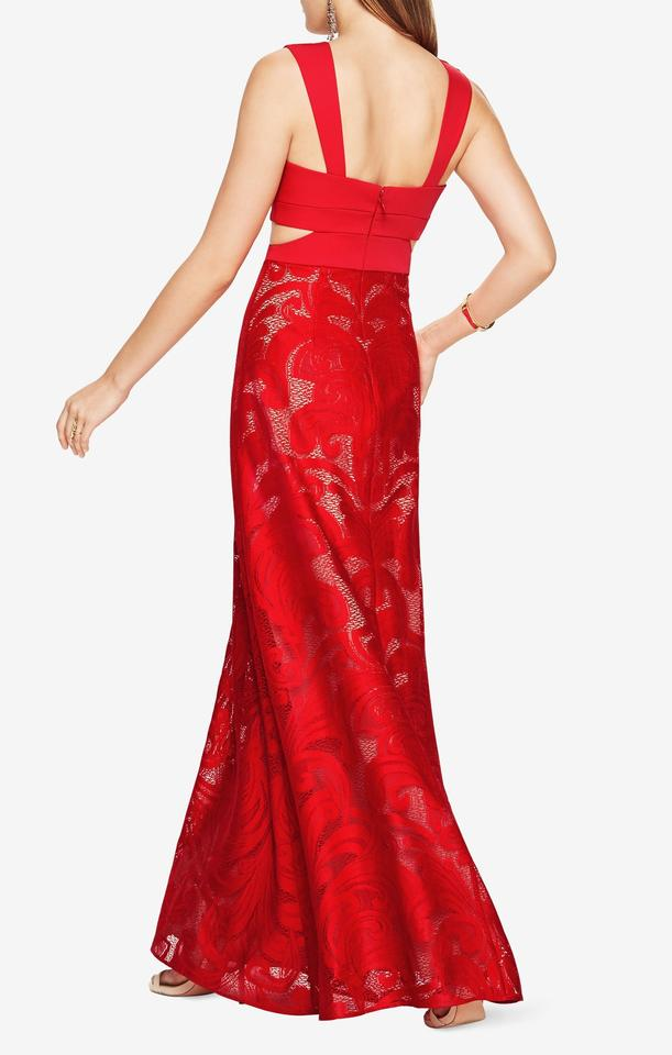 BCBGMAXAZRIA Red Marilyne Cutout Lace Gown Long Formal Dress Size 6 ...